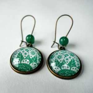 Earrings Emerald flowers