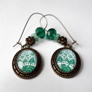 Earrings Emerald flowers