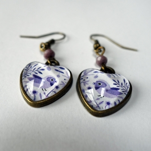Boucles d'oreilles coeurs Oiseaux mauves