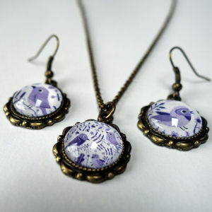 Jewelry set Purple birds