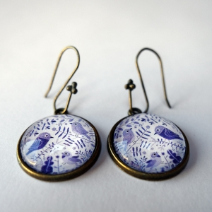 Earrings Purple birds