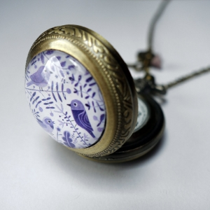 Watch necklace Purple birds