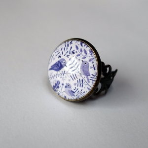 Vintage ring Purple birds