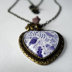 Heart necklace Purple birds