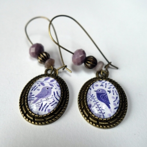 Earrings Purple flowers