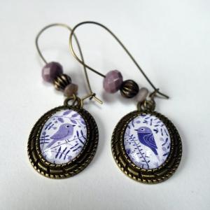 Earrings Purple flowers