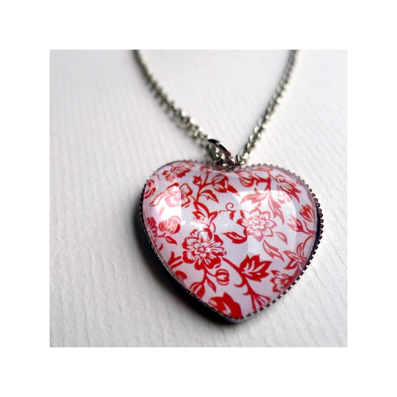 Collier coeur Roses rouges
