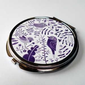 Pocket mirror Purple birds