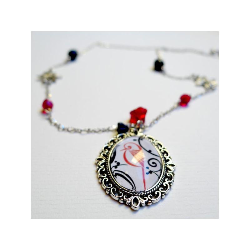 Collier vintage Oiseau rouge