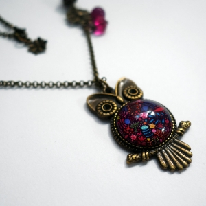 Owl necklace An unicorn among flowers