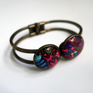 Double cuff bracelet An unicorn among flowers