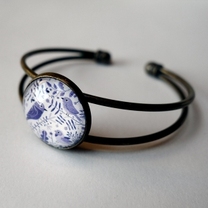 Cuff bracelet Purple birds
