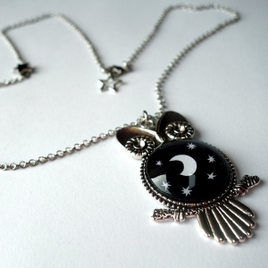 Owl necklace Under the moon