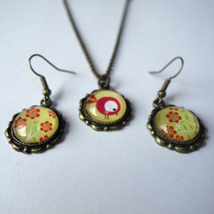 Jewelry set Red bird