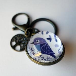 Porte-clé réversible Oiseaux mauves