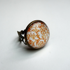 Vintage ring Yellow roses