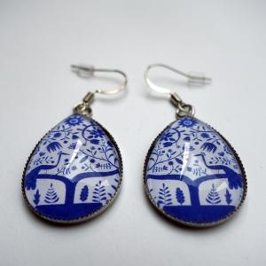 Boucles d'oreilles Paon bleu