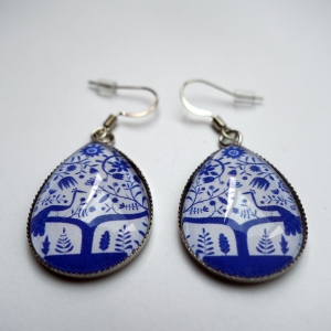 Earrings Blue peacock