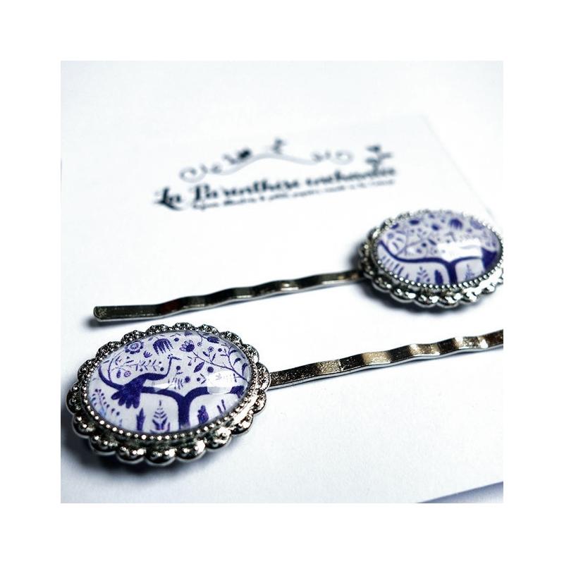 Barrettes Paon bleu