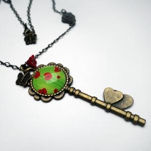 Collier clé Coquelicots verts