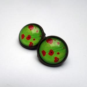 Clips d'oreilles Coquelicots verts
