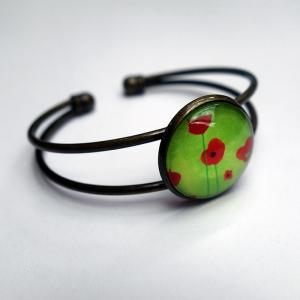 Cuff bracelet Green poppies