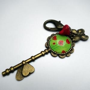 Keychain Green poppies