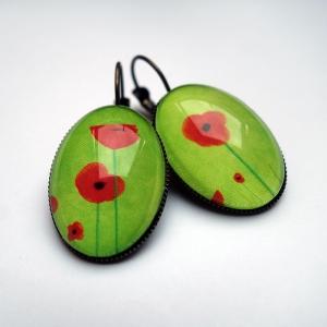 Earrings Green poppies