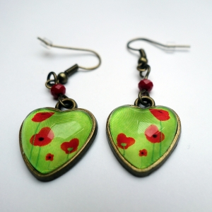 Boucles d'oreilles coeurs Coquelicots verts