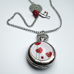 Watch necklace Poppies