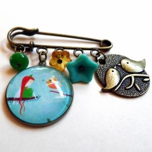 Broche Elfe et l'oiseau