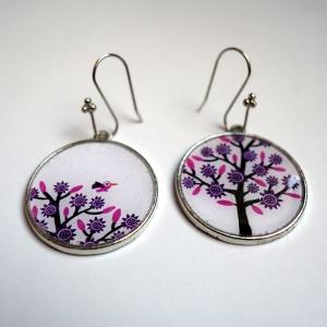 Earrings Purple tree