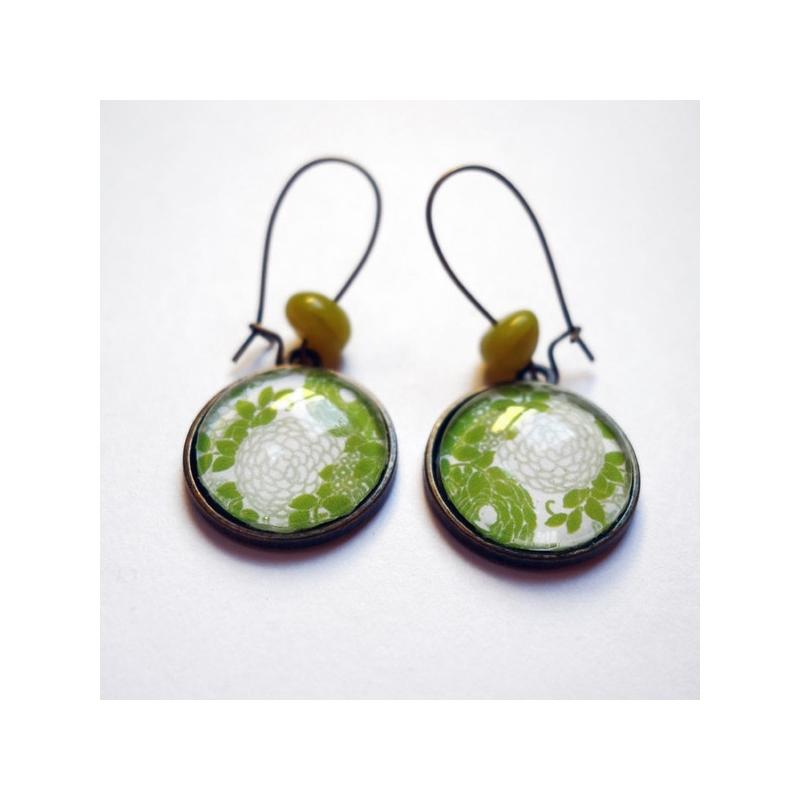 Boucles d'oreilles Hortensias anis
