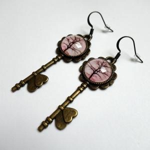 Boucles d'oreilles clés Arbre sépia