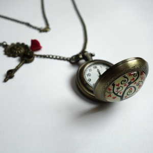 Watch necklace Red hearts tree