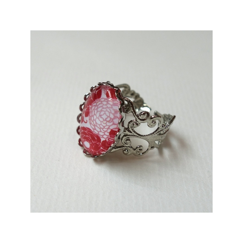 Bague vintage Hortensias rouges