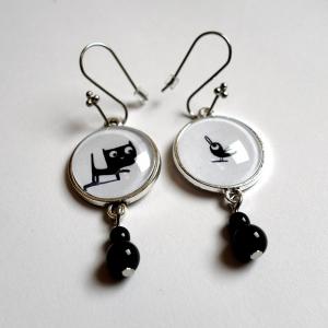 Earrings Fridolin and the bird