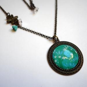 Vintage necklace Blue cherry