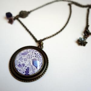 Vintage necklace Purple birds
