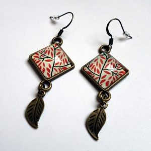 Earrings Red leaves
