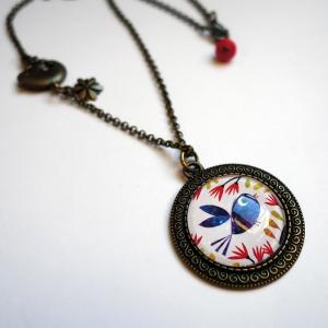 Vintage necklace Blue bird