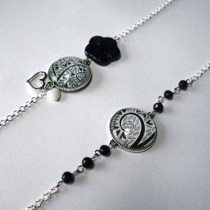 Long necklace Blanck hearts