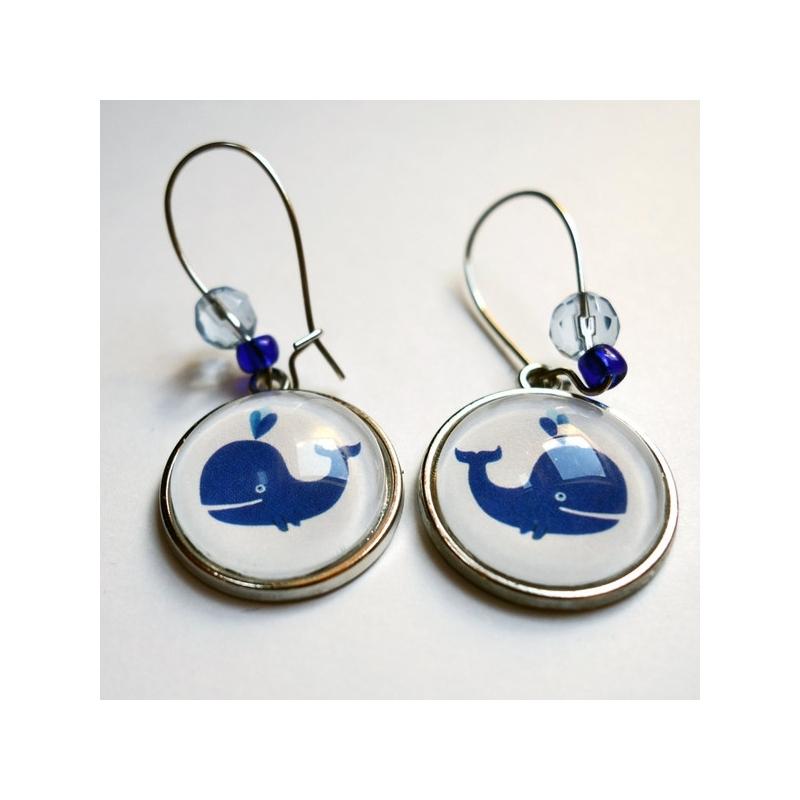 Boucles d'oreilles Baleine bleue