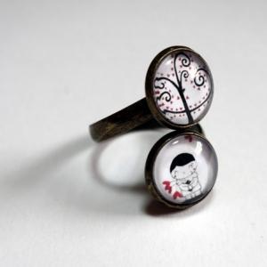 Bague double Pierrot et l'arbre de Lune