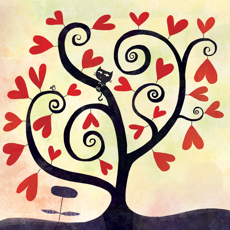 Red hearts tree