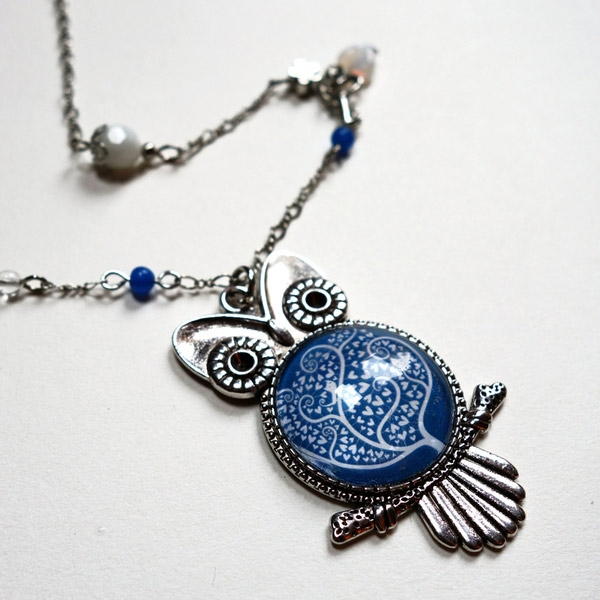 Owl and key necklaces
